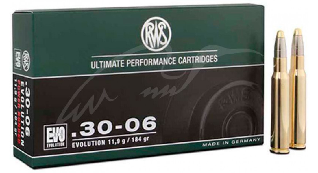 Патрон RWS кал.30-06 пуля EVO масса 11,9 г, нач. скорость 835 м/с.