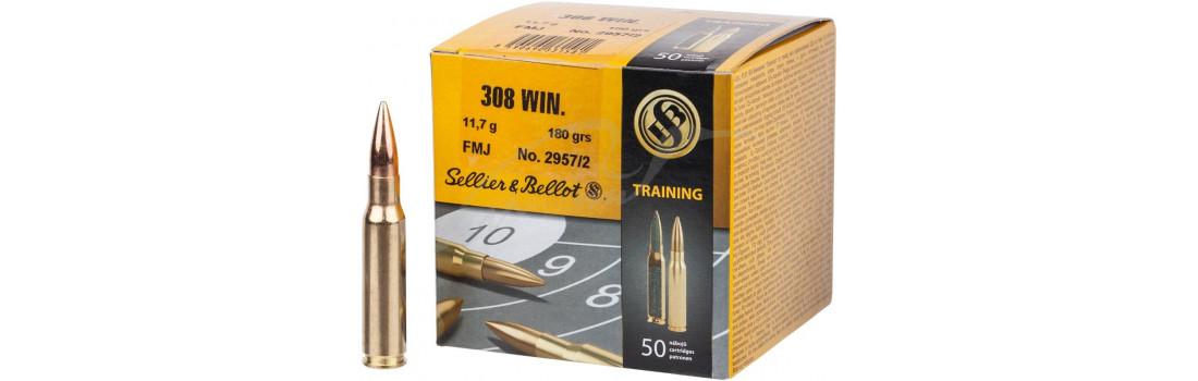 Патрон Sellier & Bellot Training кал. 308 Win куля FMJ маса 11,7 г/ 180 гран. Поч. швидкість 735 м/с.