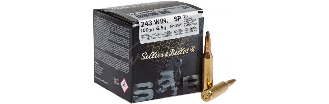 Патрон Sellier & Bellot кал. 243 Win пуля SP масса 6,5 грамм/ 100 гран. Нач. скорость 885 м/с.